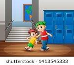 a naughty child disturb a child ...   Shutterstock . vector #1413545333