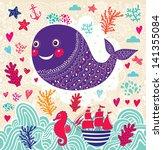 vector cartoon marine... | Shutterstock .eps vector #141355084