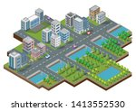 isometric building vector. they ... | Shutterstock .eps vector #1413552530