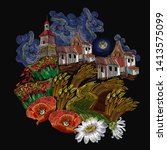 embroidery. rural landscape.... | Shutterstock .eps vector #1413575099