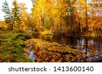 autumn forest river leaves... | Shutterstock . vector #1413600140