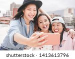 trendy asian girls making video ... | Shutterstock . vector #1413613796