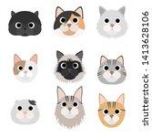cat head  cat face  cat | Shutterstock .eps vector #1413628106