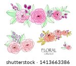 set of floral branch watercolor ... | Shutterstock . vector #1413663386