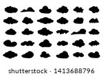 set of vector black cloud icons....