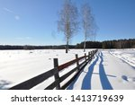Wooden Fence  Winter ...