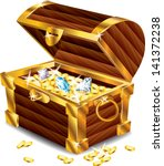 opened treasure chest with... | Shutterstock .eps vector #141372238