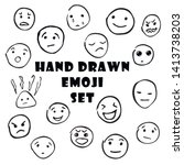 free hand drawn emoticons set... | Shutterstock .eps vector #1413738203