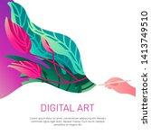 digital illustration floral... | Shutterstock . vector #1413749510