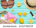 fashion clothing with lemon... | Shutterstock . vector #1413758159