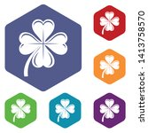 four leaf clover icons vector...