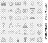 romance icons set. outline... | Shutterstock .eps vector #1413758630