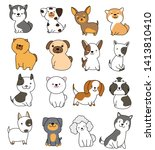 cute dog collection hand drawn... | Shutterstock .eps vector #1413810410