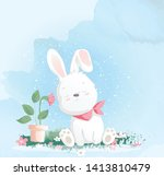 cute baby rabbit watercolor... | Shutterstock .eps vector #1413810479