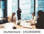 modern multiracial men and... | Shutterstock . vector #1413836840