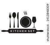 cutlery kitchen fork spoon... | Shutterstock .eps vector #1413848309