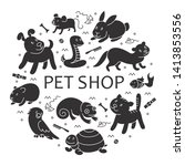 pet shop silhouette  types of... | Shutterstock .eps vector #1413853556