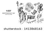 4th of july set. hand drawn... | Shutterstock .eps vector #1413868163