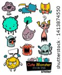 set of cute monsters in the... | Shutterstock .eps vector #1413874550