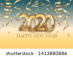 poster with 2020 numbers and... | Shutterstock .eps vector #1413880886