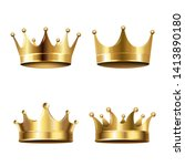 crown set isolated white...   Shutterstock . vector #1413890180