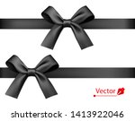 black realistic gift bow with... | Shutterstock .eps vector #1413922046