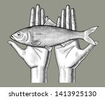 Stock vector woman s hands couple holding a herring fish on her palms vintage engraving stylized drawing 1413925130