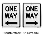 white one way signs | Shutterstock .eps vector #141396583