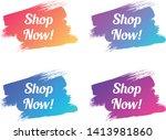shop now color promo lettering. ... | Shutterstock .eps vector #1413981860