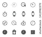 time clock flat icons isolated...