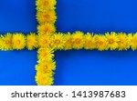 Swedish Flag. Yellow Dandelions....