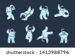 cartoon astronaut. dancing... | Shutterstock .eps vector #1413988796