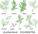 vector set of herbs and spice ... | Shutterstock .eps vector #1414006706