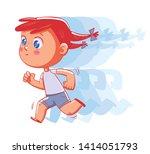 little girl is running fast.... | Shutterstock .eps vector #1414051793