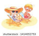 children sunbathe on the beach... | Shutterstock .eps vector #1414052753