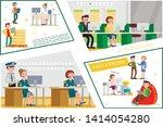 flat helpline service concept... | Shutterstock .eps vector #1414054280