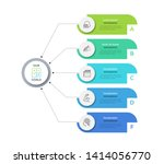 flowchart with 5 round paper...   Shutterstock .eps vector #1414056770