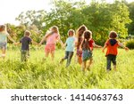 a group of happy children of... | Shutterstock . vector #1414063763