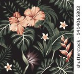 tropical vintage hibiscus... | Shutterstock .eps vector #1414065803