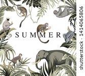 tropical summer slogan palm... | Shutterstock .eps vector #1414065806