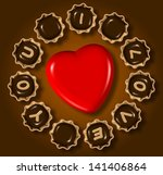 group of chocolate praline with ... | Shutterstock . vector #141406864