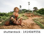 portrait of happy young woman... | Shutterstock . vector #1414069556