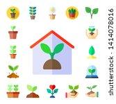 stem icon set. 17 flat stem...   Shutterstock .eps vector #1414078016