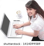 young employee sitting in front ... | Shutterstock . vector #1414099589