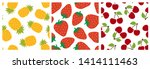 fruit seamless pattern set....   Shutterstock .eps vector #1414111463