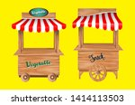 set of wooden market stalls... | Shutterstock .eps vector #1414113503