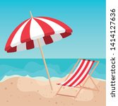 umbrella with tanning chair in... | Shutterstock .eps vector #1414127636
