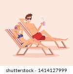 man and woman taking sun in the ... | Shutterstock .eps vector #1414127999