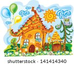 gingerbread sunny colorful house | Shutterstock .eps vector #141414340