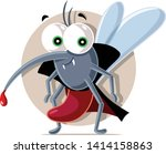 Vampire Mosquito Vector Cartoon Illustration. Drawing of a funny bloodsucking insect character